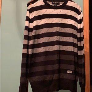 NWOT Billabong white grey black striped sweater